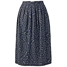 Buy Fat Face Midi Butterfly Skirt, Navy Online at johnlewis.com