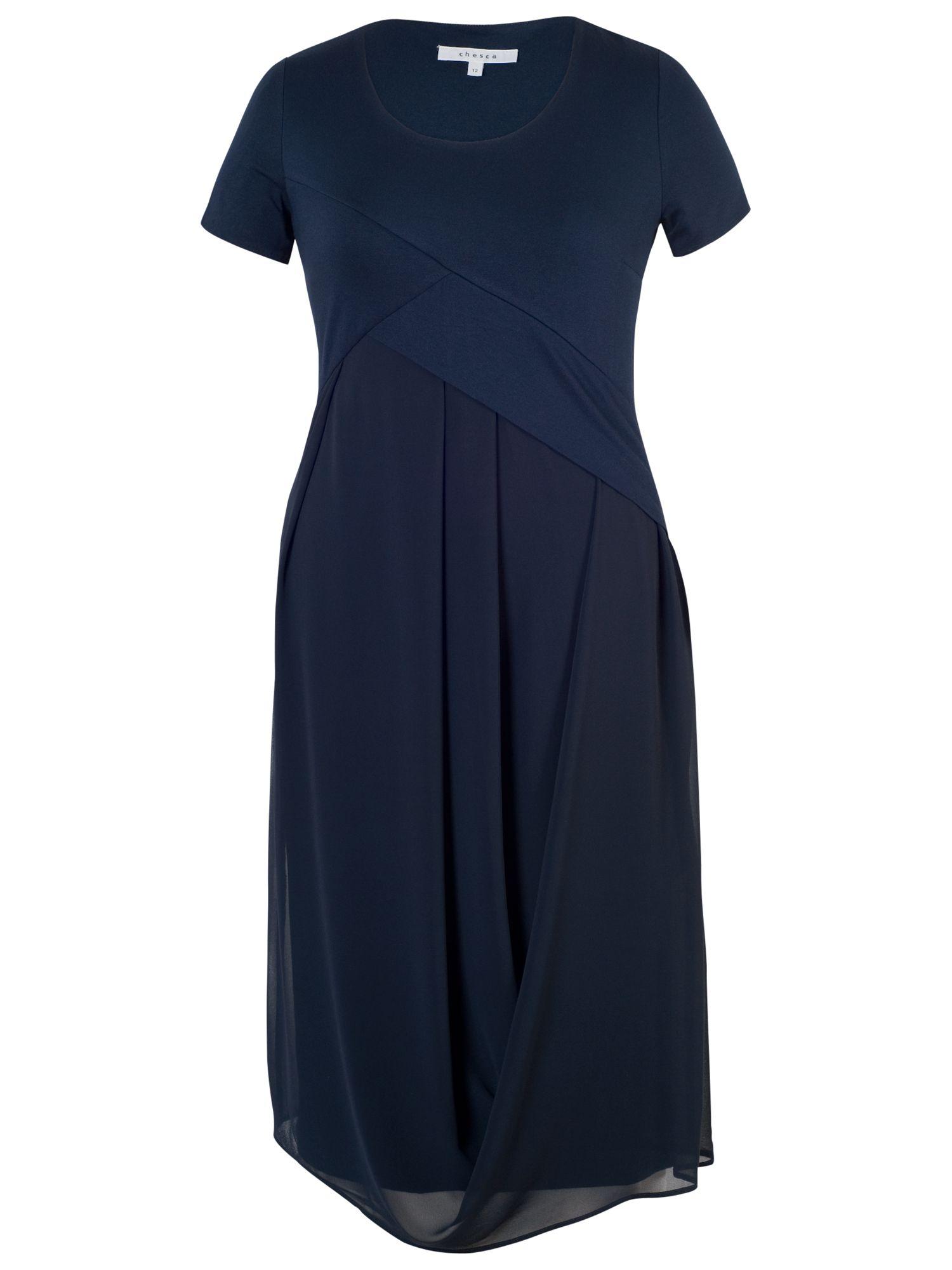 chesca chiffon jersey dress navy, chesca, chiffon, jersey, dress, navy, 14|22|18|20|16, women, plus size, womens dresses, 1879429