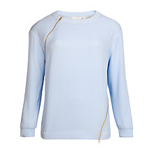 Buy Ted Baker Ribbed Zip Jumper, Powder Blue Online at johnlewis.com