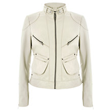 Buy Mint Velvet Washed Leather Jacket, Stone Online at johnlewis.com