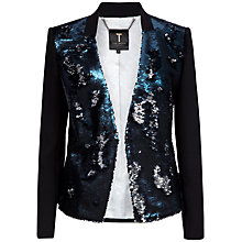 Buy Ted Baker Perola Sequin Blazer, Blue Online at johnlewis.com
