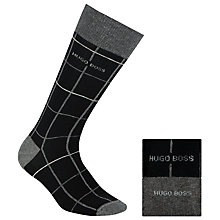 Buy BOSS Check and Plain Socks, Pack of 2, Black/Grey Online at johnlewis.com