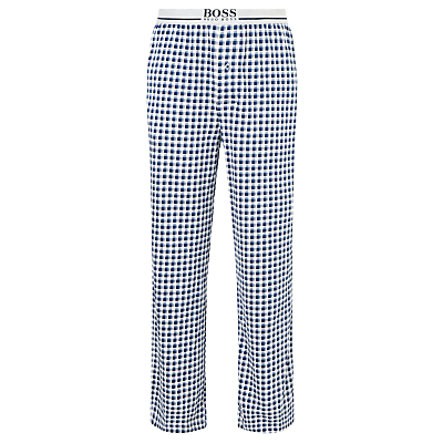BOSS Check Cotton Jersey Lounge Pants, Navy