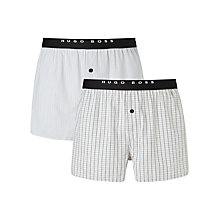 Buy BOSS Woven Check and Stripe Boxers, Pack of 2, Grey Online at johnlewis.com