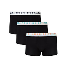 Buy BOSS Stretch Cotton Trunks, Pack of 3, Black/White Online at johnlewis.com