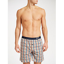 Buy BOSS Check Woven Lounge Shorts, Navy/Orange Online at johnlewis.com