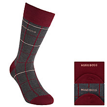 Buy BOSS Cotton Blend Check Socks, Pack of 2, Red/Grey Online at johnlewis.com
