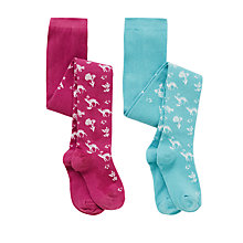 Buy John Lewis Girl Deer Tights, Pack of 2, Blue/Pink Online at johnlewis.com