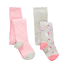 Buy John Lewis Girl Butterfly And Spot Tights, Pack of 2, Pink/Grey Online at johnlewis.com