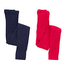 Buy John Lewis Girl Ribbed Footless Tights, Pack of 2, Multi Online at johnlewis.com
