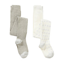 Buy John Lewis Girl Cat Knee And Glitter Spot Tights, Pack of 2, Cream/Grey Online at johnlewis.com