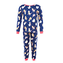 Buy John Lewis Girl Cat Print Pyjamas, Blue Online at johnlewis.com