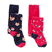 Buy John Lewis Girl Woodland Fox And Bird Tights, Pack of 2, Pink/Navy Online at johnlewis.com