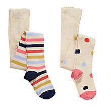 Buy John Lewis Girl Spot & Stripe Tights, Pack of 2, Beige/Multi Online at johnlewis.com
