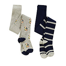 Buy John Lewis Girl Floral & Stripe Tights, Pack of 2, Grey/Navy Online at johnlewis.com