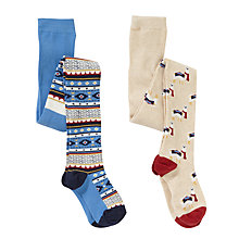 Buy John Lewis Girl Ikat Llama Tights, Pack of 2, Blue/Beige Online at johnlewis.com