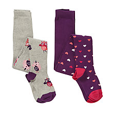 Buy John Lewis Girls' Hearts And Owls Tights, Pack of 2, Purple/Grey Online at johnlewis.com