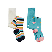 Buy John Lewis Girl Spot & Stripe Tights, Pack of 2, Multi Online at johnlewis.com