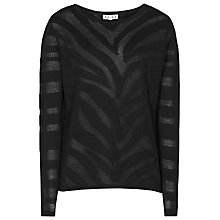 Buy Reiss Maja Burnout Sheer Jumper, Black Online at johnlewis.com