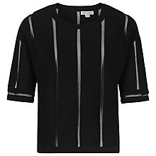Buy Reiss Flora Sheer Stripe Jumper, Black Online at johnlewis.com