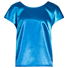 Buy Reiss Metallic Rita Top, Blue Online at johnlewis.com