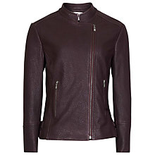 Buy Reiss Lima Leather Biker Jacket, Bordeaux Online at johnlewis.com