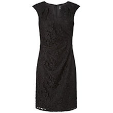 Buy Adrianna Papell Pleated Drape Lace Dress, Black Online at johnlewis.com