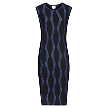 Buy Reiss Hana Knitted Squiggle Dress, Black/Navy Online at johnlewis.com