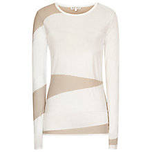 Buy Reiss Heide Sheer Knitted Jumper, Champagne/Tiramisu Online at johnlewis.com