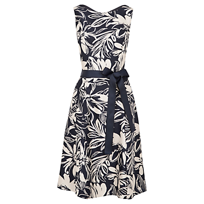 Viyella Floral Fit And Flare Dress, Navy