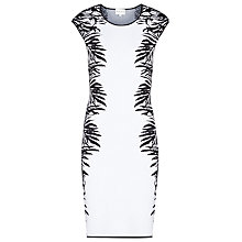 Buy Reiss Emeline Knitted Floral Jacquard Dress, White/Black Online at johnlewis.com