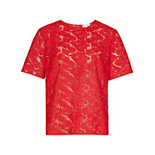 Buy Reiss Oriana Sheer Lace Top, Rum Online at johnlewis.com