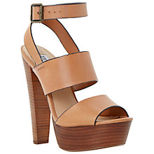 Buy Steve Madden Dezzzy Leather Platform Sandals, Tan Online at johnlewis.com