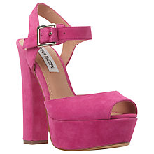 Buy Steve Madden Jillyy Platform Block Heeled Sandals, Blush Suede Online at johnlewis.com