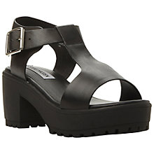 Buy Steve Madden Stefano Chunky Leather T-Bar Sandals, Black Online at johnlewis.com