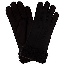 Buy John Lewis Cuff Detail Lambskin Gloves, Black Online at johnlewis.com