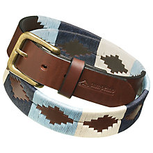 Buy Pampeano Sereno Leather Polo Belt, Blue/Cream Online at johnlewis.com
