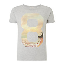 Buy Hilfiger Denim Ryan 8 Graphic Print T-Shirt, Light Grey Heather Online at johnlewis.com