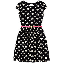 Buy Yumi Girl Heart Print Lace Dress, Black Online at johnlewis.com