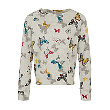 Buy John Lewis Girl Fashion Butterfly Sweatshirt, Grey/Multi Online at johnlewis.com