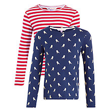 Buy John Lewis Girl Printed T-Shirts, Pack of 2, Red/Blue Online at johnlewis.com