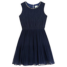 Buy Yumi Girl Pearl-Look Trim Lace Bodice Dress, Navy Online at johnlewis.com