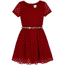 Buy Yumi Girl Lace Skater Dress, Red Online at johnlewis.com