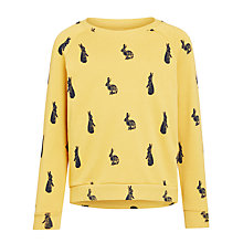 Buy John Lewis Girl Bunny Print Sweat Top, Mustard Online at johnlewis.com
