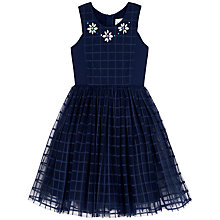 Buy Yumi Girl Check Netted Dress, Navy Online at johnlewis.com