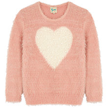 Buy Yumi Girl Heart Eyelash Jumper, Pink Online at johnlewis.com