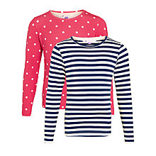 Buy John Lewis Girl Spot Stripe T-Shirt, Pack of 2, Pink/Navy Online at johnlewis.com