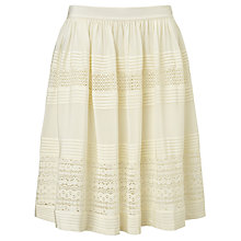 Buy Somerset by Alice Temperley Lace Insert Silk Skirt, Ivory Online at johnlewis.com