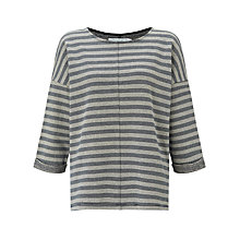Buy John Lewis Capsule Collection Slub Square Neck Cotton Top, Blue/Cream Online at johnlewis.com