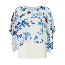 Buy John Lewis Capsule Collection Layered Print Silk Top, White/Blue Online at johnlewis.com